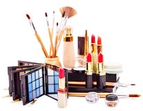 构成的装饰化妆用品。 免版税库存照片