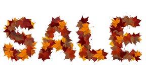 构成秋天查出叶子与字的做的销售额 免版税库存照片