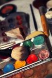 构成艺术化妆用品画笔工具 免版税库存图片