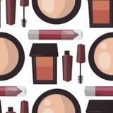 构成香水染睫毛油关心掠过无缝的样式背景梳子面对的眼影膏魅力女性辅助传染媒介 库存图片