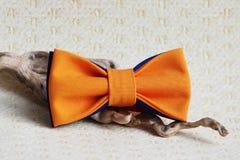 构成:与一个蓝色蝶形领结的桔子和一根木棍子在米黄背景弯曲 免版税库存图片