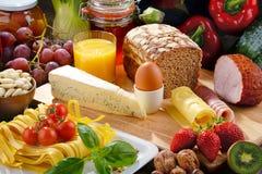 构成以有机食品产品品种  库存照片