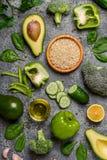 构成素食主义者,饮食食物-绿色菜,米和 图库摄影