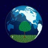 结构树和行星 免版税库存图片