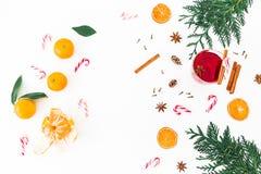构筑圣诞节结构的被仔细考虑的酒用桂香、茴香和棒棒糖在白色背景 平的位置,顶视图 库存照片