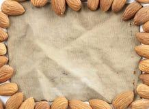 构筑杏仁、小组杏仁和葡萄酒织品棉花  库存图片