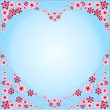 构筑从花的心脏,红色,桃红色,蓝色背景,蓝色,心形,多彩多姿不同,花,美好的心脏, intere 皇族释放例证