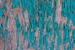 构造剥在一个木板的绿色油漆总体上构筑 免版税图库摄影