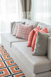 枕头行在沙发的在经典客厅样式 库存照片