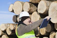 林务员谈话在手机 图库摄影
