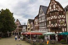 林堡省,德国,老中世纪镇中心街道  免版税图库摄影