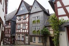 林堡省,德国,老中世纪镇狭窄的街道  库存照片