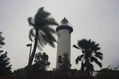 林孔灯塔飓风玛丽亚林孔,波多黎各2017年 免版税库存照片