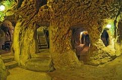 代林库尤洞地下城市,卡帕多细亚,土耳其 旅行ba 库存照片