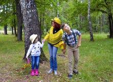 林木自然秋天朋友女儿一起哄骗跑年轻爱微笑的妇女幸福乐趣父亲男孩池氏的小组婴孩 免版税库存照片