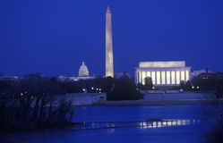 林肯、华盛顿纪念碑和美国国会大厦 库存照片