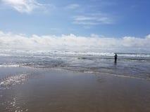林肯城俄勒冈海滩太阳 免版税库存照片