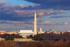 林肯纪念堂、华盛顿纪念碑和美国国会大厦,华盛顿特区 免版税库存照片