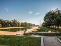 林肯纪念堂反射水池和华盛顿纪念碑在华盛顿特区 图库摄影
