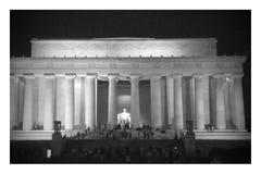 林肯纪念堂在晚上 库存照片