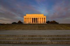 林肯纪念堂日出 库存照片