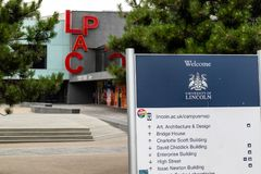 林肯,英国- 07/21/2018 :在Universit的LPAC 免版税库存照片