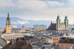 林茨,在老城市,奥地利的看法 库存照片