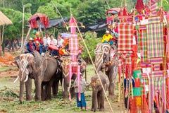 素林,泰国- 5月16 :在大象的后面F的整理游行 库存图片