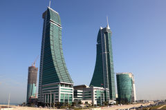 巴林财政港口摩天大楼在麦纳麦 免版税库存图片