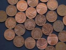 1枚便士硬币,英国 库存图片