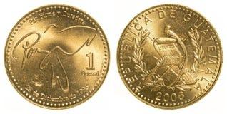 1枚危地马拉格查尔硬币 免版税库存照片