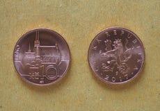 10枚捷克克朗硬币,捷克 库存照片