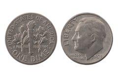 1973年1枚昏暗的美利坚合众国硬币 免版税库存照片