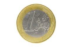 1枚欧洲硬币特写镜头在白色背景的 免版税库存照片