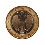 1枚欧洲硬币,欧盟,德国隔绝了在白色 图库摄影