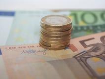 1枚欧洲硬币,欧盟 免版税图库摄影