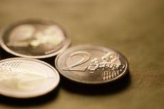 2枚欧洲硬币背景 免版税图库摄影