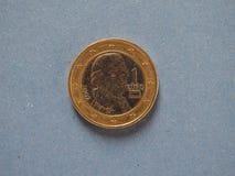1枚欧洲硬币,欧盟,在蓝色的奥地利 图库摄影