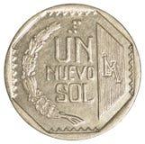 1枚秘鲁nuevo sol硬币 免版税库存照片