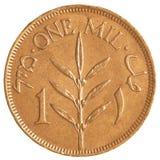 1枚老以色列人米尔硬币从英国命令时代 库存图片
