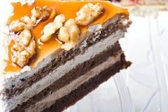 果仁巧克力蛋糕巧克力奶油色点心甜&# 免版税库存照片