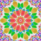 果冻彩虹抽象万花筒样式背景楔住在白糖沙子背景的切片 甜点万花筒 免版税库存图片