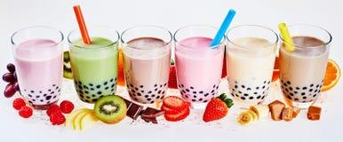 水果味道的泡影或boba茶的选择 免版税库存照片