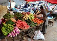 水果和蔬菜卖主趋向到他的在女皇市场卡拉奇巴基斯坦之外的推车 免版税库存照片