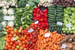 水果和蔬菜在丰沙尔市场,马德拉岛上 库存图片