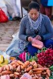 水果和蔬菜在市场,秘鲁上 免版税库存照片
