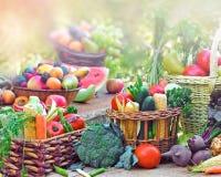 水果和蔬菜在柳条筐 图库摄影