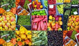水果和蔬菜待售,五颜六色的拼贴画 库存图片