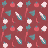 水果和蔬菜无缝的平的传染媒介样式 免版税库存图片