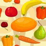 水果和蔬菜的无缝的样式 库存照片